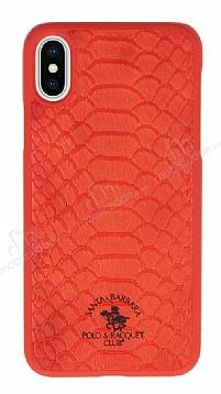 Santa Barbara Knight iPhone X Deri Kırmızı Rubber Kılıf