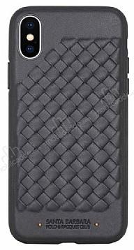 Santa Barbara Ravel iPhone X Siyah Deri Kılıf