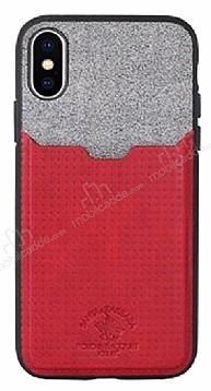 Santa Barbara Tasche Series iPhone X Kartlıklı Kırmızı Kılıf