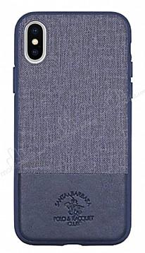 Santa Barbara Virtuoso iPhone X Deri Lacivert Rubber Kılıf