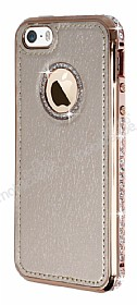 Shengo iPhone SE / 5 / 5S Ta�l� Metal Kenarl� Rose Gold Deri K�l�f