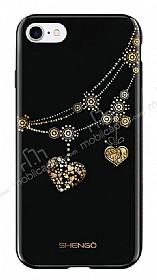 Shengo iPhone 6 Plus / 6S Plus Silikon Kenarlı Taşlı Kalp Siyah Rubber Kılıf