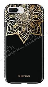Shengo iPhone 7 Plus Silikon Kenarlı Taşlı Çiçek Siyah Rubber Kılıf