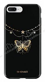 Shengo iPhone 7 Plus Silikon Kenarlı Taşlı Kelebek Siyah Rubber Kılıf