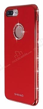 Shengo iPhone 7 Plus Taşlı Kırmızı Silikon Kılıf