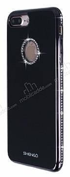 Shengo iPhone 7 Plus Taşlı Siyah Silikon Kılıf