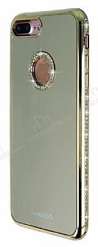 Shengo iPhone 7 Plus / 8 Plus Taşlı Gold Silikon Kılıf