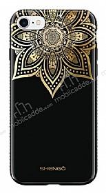 Shengo iPhone 7 / 8 Silikon Kenarlı Taşlı Çiçek Siyah Rubber Kılıf