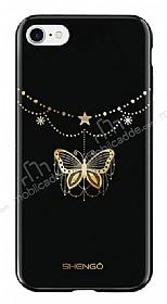 Shengo iPhone 7 / 8 Silikon Kenarlı Taşlı Kelebek Siyah Rubber Kılıf