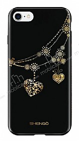 Shengo iPhone 7 Silikon Kenarlı Taşlı Kalp Siyah Rubber Kılıf