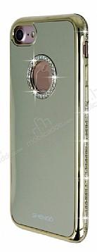 Shengo iPhone 7 Taşlı Gold Silikon Kılıf