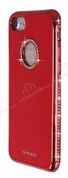 Shengo iPhone 7 Taşlı Kırmızı Silikon Kılıf