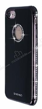 Shengo iPhone 7 Taşlı Siyah Silikon Kılıf