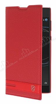 Sony Xperia L1 Gizli Mıknatıslı Yan Kapaklı Kırmızı Deri Kılıf