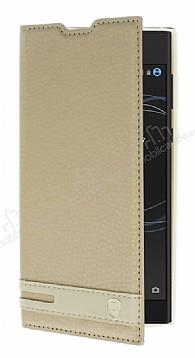 Sony Xperia L1 Gizli Mıknatıslı Yan Kapaklı Gold Deri Kılıf