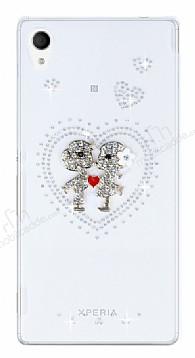 Sony Xperia M4 Aqua Taşlı Love Şeffaf Rubber Kılıf