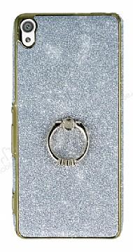 Sony Xperia XA Selfie Yüzüklü Simli Silver Silikon Kılıf