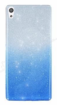 Sony Xperia XA Simli Mavi Silikon Kılıf