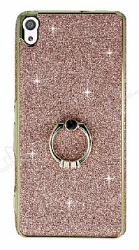 Sony Xperia XA Ultra Selfie Yüzüklü Simli Rose Gold Silikon Kılıf