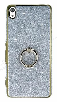 Sony Xperia XA Ultra Selfie Yüzüklü Simli Silver Silikon Kılıf