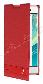 Sony Xperia XA1 Gizli Mıknatıslı Kırmızı Deri Kılıf