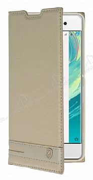 Sony Xperia XA1 Gizli Mıknatıslı Gold Deri Kılıf