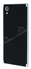 Eiroo Carbon Hybrid Sony Xperia XA1 Silver Kenarlı Karbon Siyah Silikon Kılıf