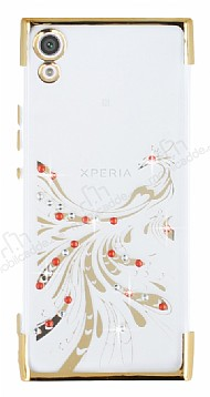 Sony Xperia XA1 Gold Peacock Taşlı Şeffaf Silikon Kılıf