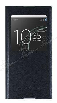 Sony Xperia XA1 Plus Pencereli İnce Yan Kapaklı Siyah Kılıf