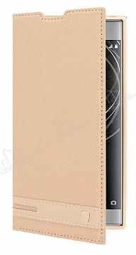 Sony Xperia XA2 Gizli Mıknatıslı Yan Kapaklı Gold Deri Kılıf
