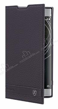 Sony Xperia XA2 Ultra Gizli Mıknatıslı Yan Kapaklı Siyah Deri Kılıf