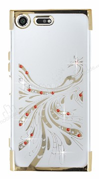 Sony Xperia XZ Premium Gold Peacock Taşlı Şeffaf Silikon Kılıf