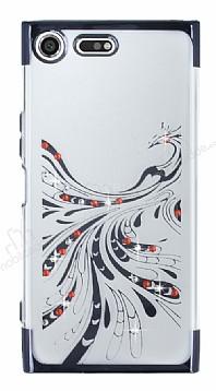 Sony Xperia XZ Premium Siyah Peacock Taşlı Şeffaf Silikon Kılıf