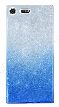 Sony Xperia XZ Premium Simli Mavi Silikon Kılıf
