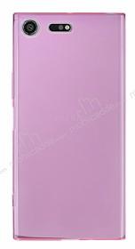Sony Xperia XZ Premium Ultra İnce Şeffaf Pembe Silikon Kılıf