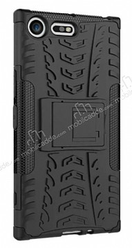Sony Xperia XZ Premium Ultra Süper Koruma Standlı Siyah Kılıf