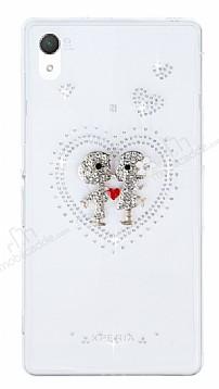 Sony Xperia Z2 Taşlı Love Şeffaf Silikon Kılıf