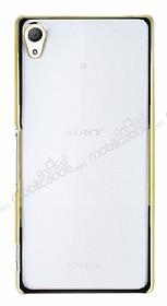 Eiroo Breza Sony Xperia Z3 Plus Gold Metal Kenarlı Şeffaf Rubber Kılıf