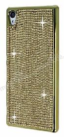 Eiroo Glows Sony Xperia Z3 Plus Taşlı Gold Rubber Kılıf