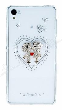 Sony Xperia Z3 Taşlı Love Şeffaf Silikon Kılıf