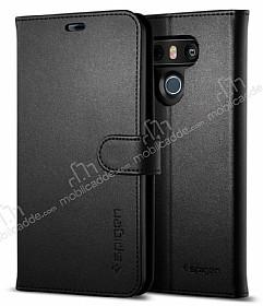 Spigen Wallet S LG G6 Standlı Kapaklı Siyah Deri Kılıf