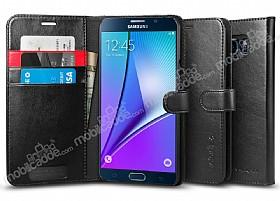 Spigen Wallet Samsung Galaxy Note 5 Standlı Kapaklı Siyah Deri Kılıf
