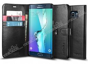 Spigen Wallet Samsung Galaxy S6 Edge Plus Standlı Kapaklı Siyah Deri Kılıf