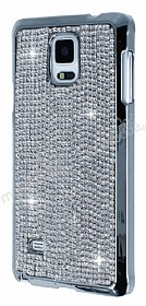 Eiroo Glows Samsung N9100 Galaxy Note 4 Ta�l� Silver Rubber K�l�f