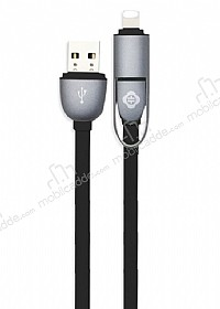 Totu Design Good Partner Lightning & Micro USB Dark Silver Data Kablosu