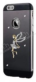 Totu Design Angel iPhone 6 Plus / 6S Plus Taşlı Metal Siyah Kılıf