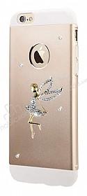 Totu Design Angel iPhone 6 Plus / 6S Plus Taşlı Metal Gold Kılıf