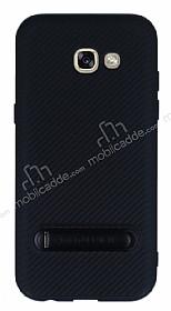 Totu Design Samsung Galaxy A5 2017 Standlı Karbon Siyah Rubber Kılıf