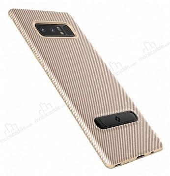 Totu Design Samsung Galaxy Note 8 Standlı Karbon Gold Rubber Kılıf