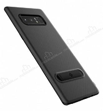Totu Design Samsung Galaxy Note 8 Standlı Karbon Siyah Rubber Kılıf